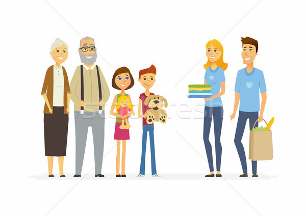 Volunteers help children and seniors - cartoon people characters isolated illustration Stock photo © Decorwithme