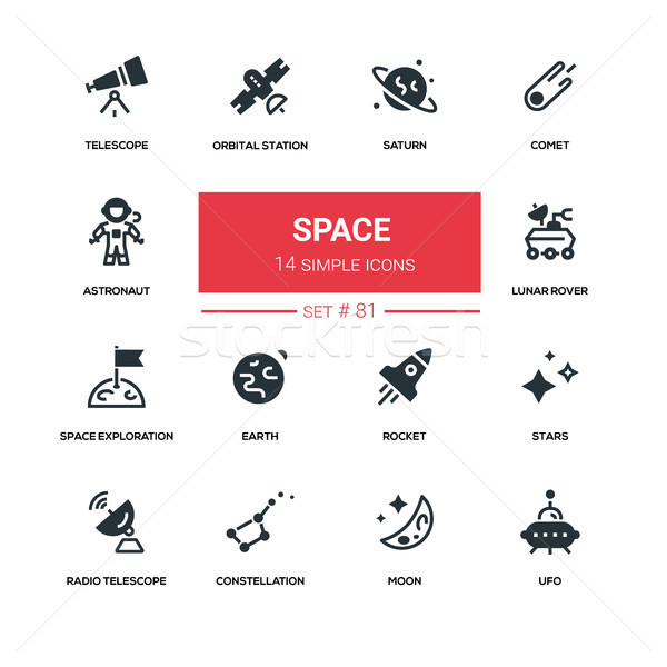 Space concept - line design silhouette icons set Stock photo © Decorwithme