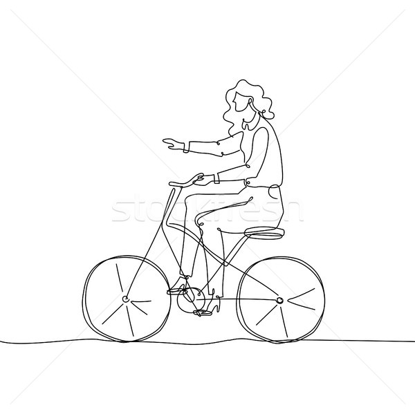 Girl riding a bicycle - one continuous line design style illustration Stock photo © Decorwithme