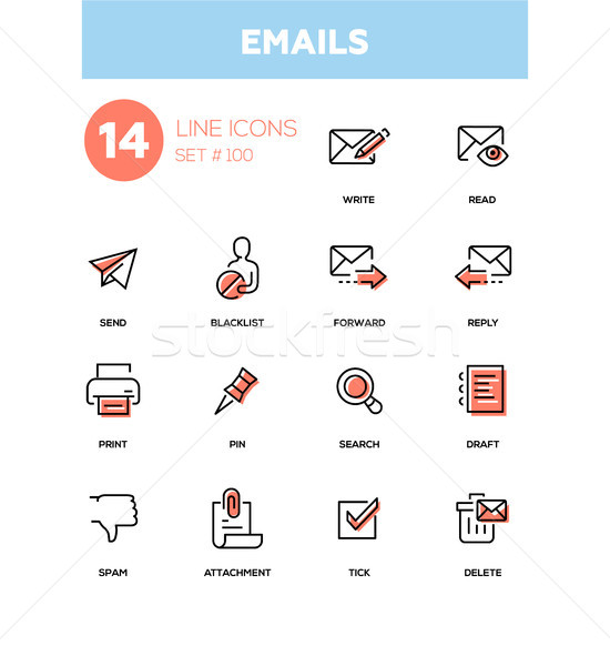 Emails - modern line design icons set Stock photo © Decorwithme