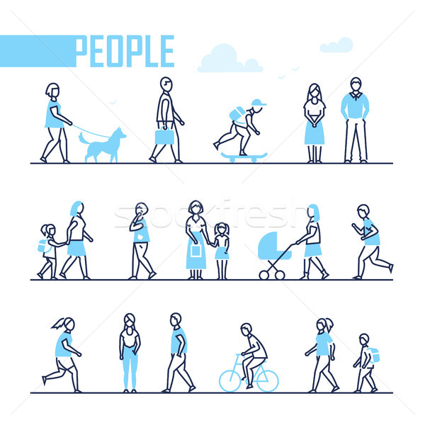 People - set of line design style characters Stock photo © Decorwithme