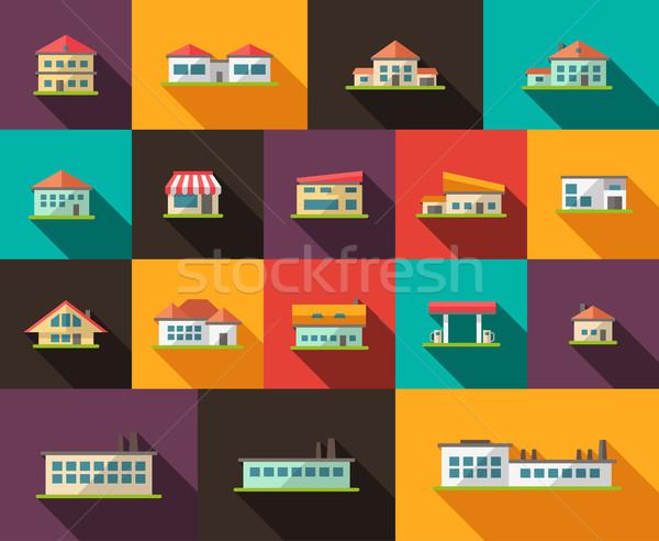 Ingesteld ontwerp gebouwen pictogrammen vector business Stockfoto © Decorwithme
