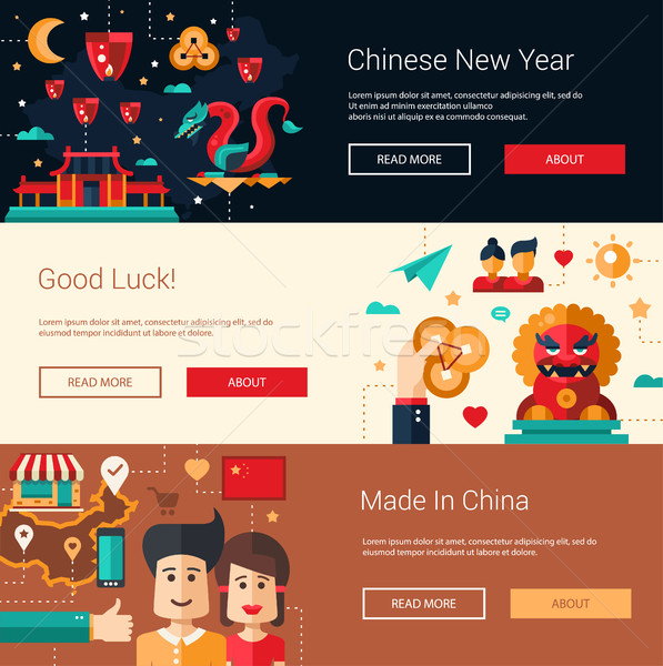 Flat design China banners set with icons, famous Chinese symbols Stock photo © Decorwithme