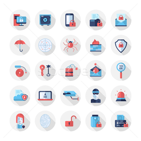 Security, protection modern flat design icons and pictograms Stock photo © Decorwithme