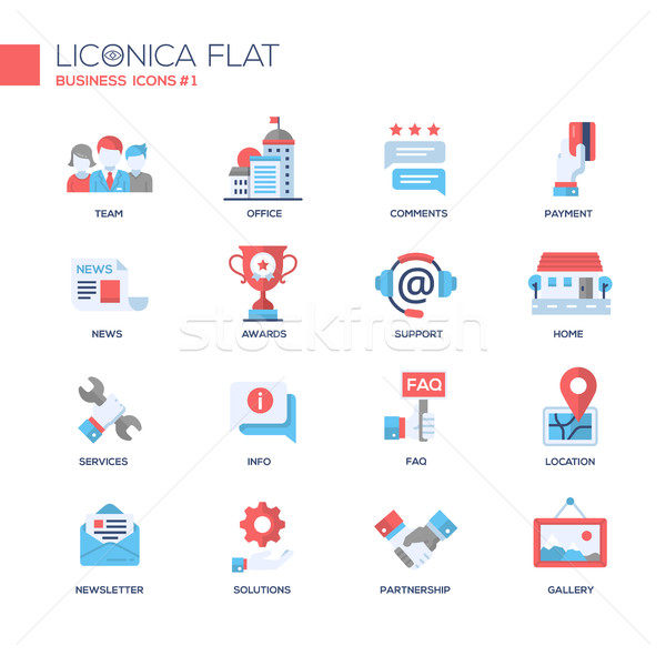 Set of modern business office flat design icons and pictograms Stock photo © Decorwithme