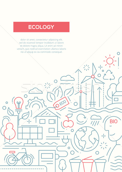 Ecology - line design brochure poster template A4 Stock photo © Decorwithme