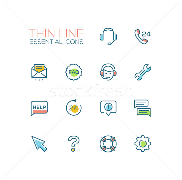 Help Center - Thin Single Line Icons Set Stock photo © Decorwithme