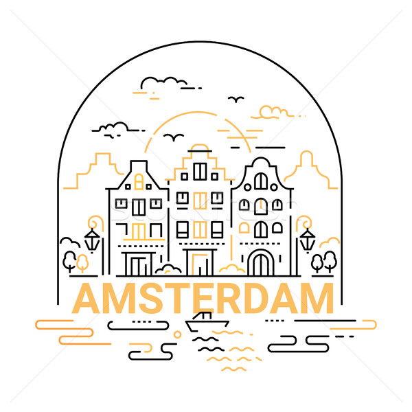 Amsterdam - modern vector line travel illustration Stock photo © Decorwithme