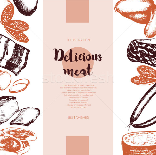 Processed Meat - vector hand drawn banner template. Stock photo © Decorwithme