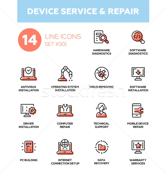 Device service repair - modern vector single line icons set Stock photo © Decorwithme