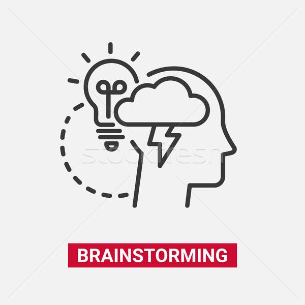 Brainstorming modernen Vektor line Design Symbol Stock foto © Decorwithme