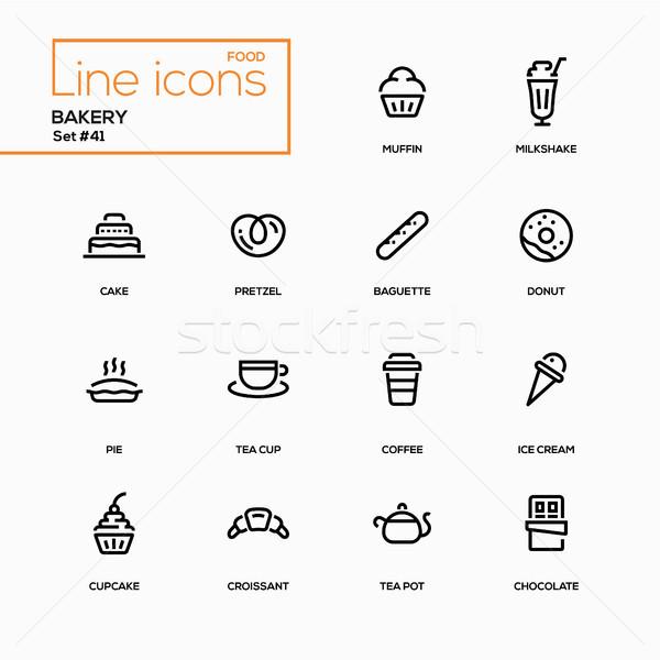 Piekarni line projektu smaczny ciasto Zdjęcia stock © Decorwithme
