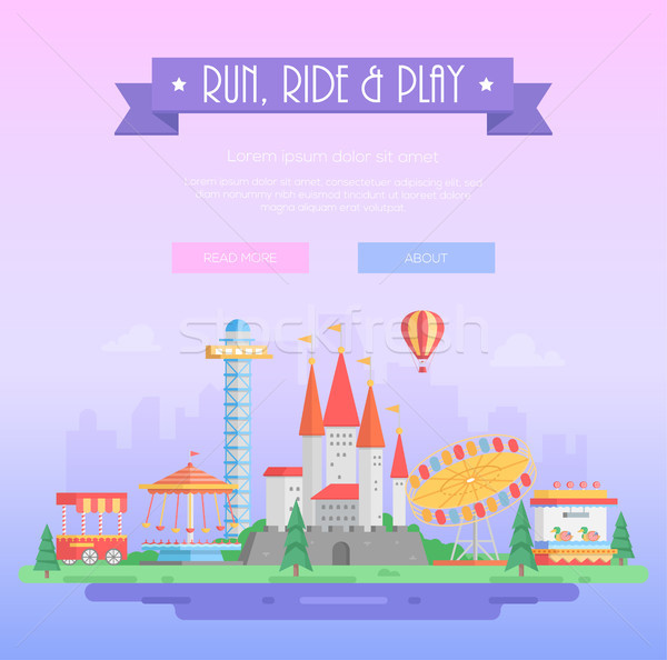 Run, ride and play - modern vector illustration Stock photo © Decorwithme