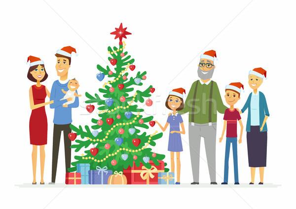 Happy family celebrates Christmas - cartoon people characters illustration Stock photo © Decorwithme
