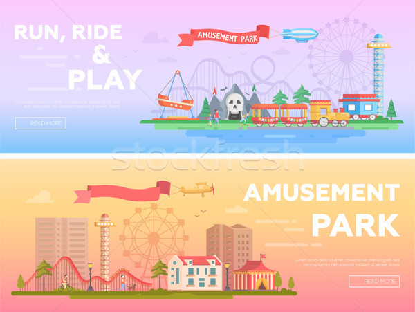 Amusement park - set of modern flat vector illustrations Stock photo © Decorwithme