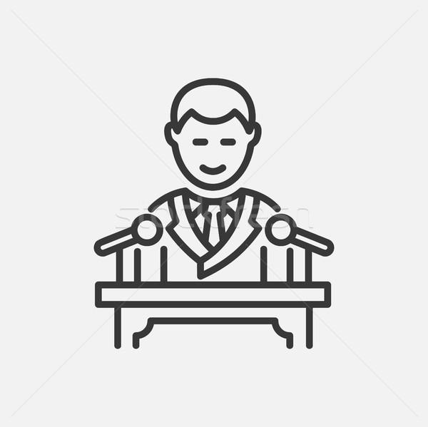 President lijn ontwerp geïsoleerd icon witte Stockfoto © Decorwithme