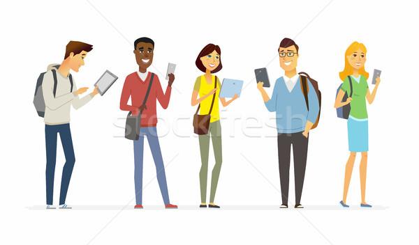 Boldog diákok telefonok rajzolt emberek betűk izolált Stock fotó © Decorwithme