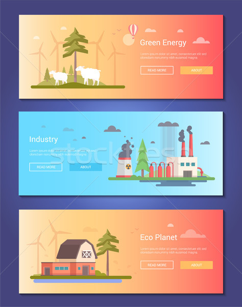 Eco planet - set of modern flat design style vector illustrations Stock photo © Decorwithme