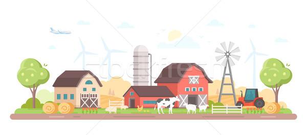 Village - modern flat design style vector illustration Stock photo © Decorwithme