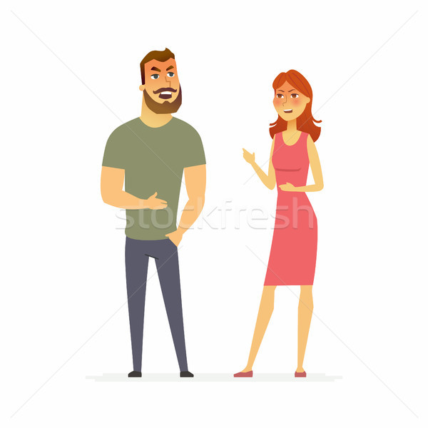 Family argument - cartoon people character isolated illustration Stock photo © Decorwithme
