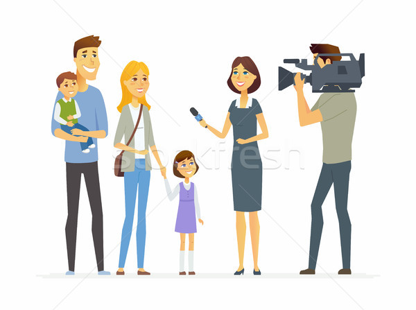 Tv fiatal család rajzolt emberek karakter izolált Stock fotó © Decorwithme