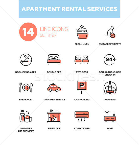 Apartment rental service - line design icons set Stock photo © Decorwithme