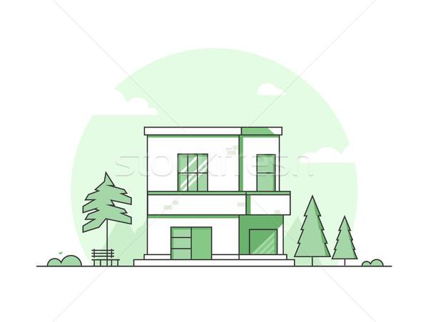 Cottage casa moderno sottile line design Foto d'archivio © Decorwithme