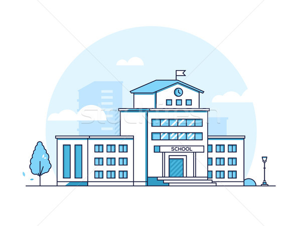 School building - modern line design style illustration Stock photo © Decorwithme