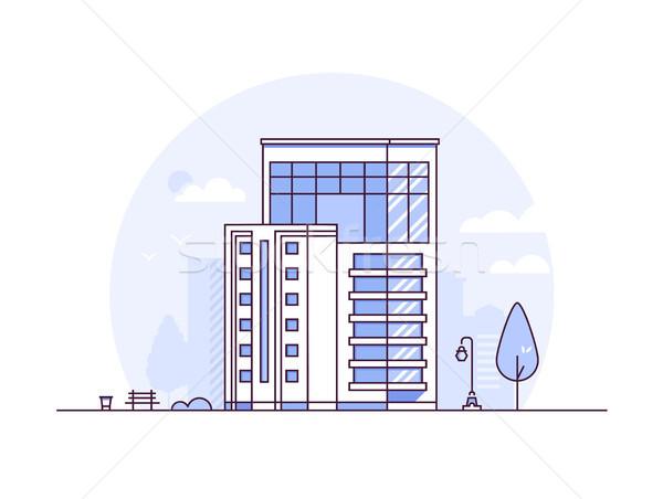 Cityscape modernes léger ligne design style Photo stock © Decorwithme