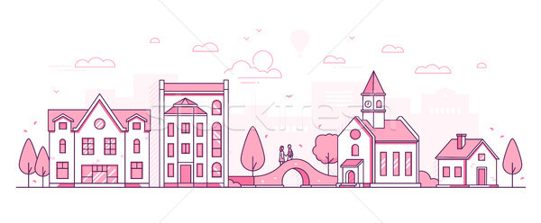 Old town - modern thin line design style vector illustration Stock photo © Decorwithme