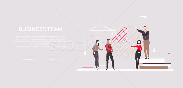 Foto stock: Equipe · de · negócios · moderno · projeto · estilo · colorido · bandeira