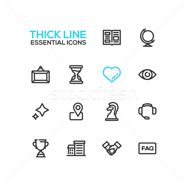 Business - Thick Single Line Icons Set Stock photo © Decorwithme