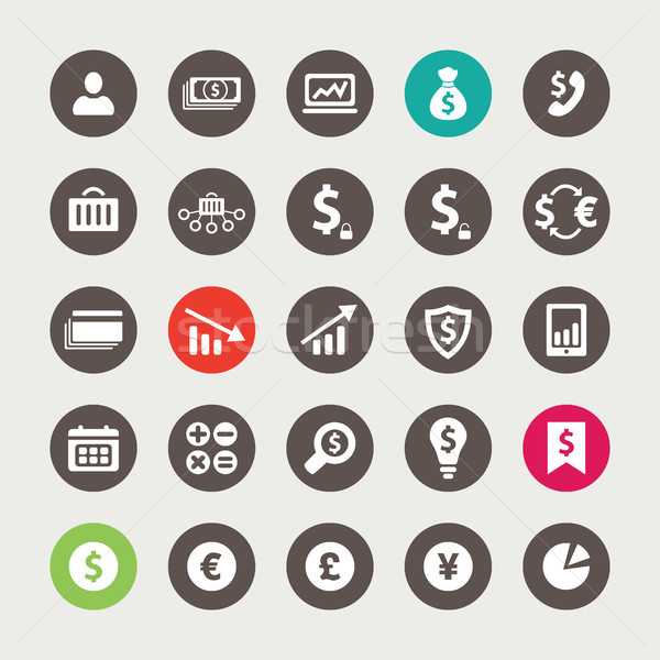 Set of financial and business icons Stock photo © Decorwithme