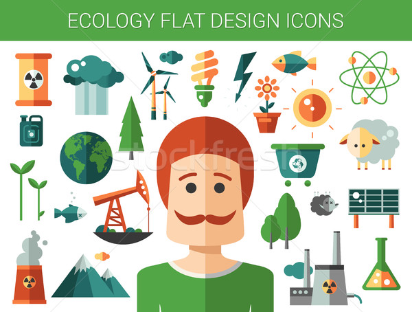 Modern flat design conceptual ecological icons and infographics elements Stock photo © Decorwithme