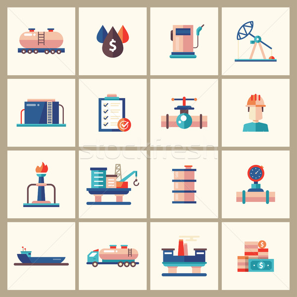 Oil, gas industry modern flat design icons and pictograms Stock photo © Decorwithme
