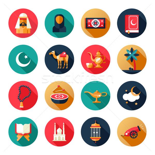 Iszlám kultúra ikon szett szett modern vektor Stock fotó © Decorwithme