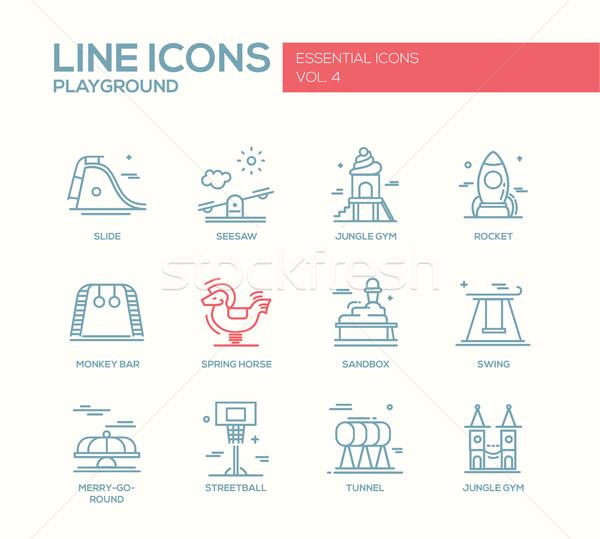 Children playground line design icons set Stock photo © Decorwithme