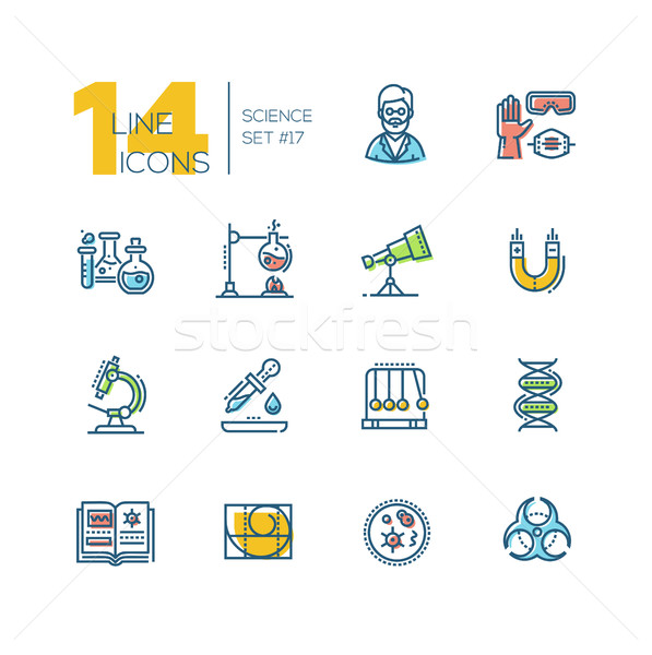 Science - colored modern single line icons set Stock photo © Decorwithme