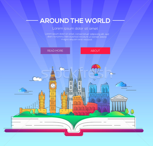 Around the world - vector line travel illustration Stock photo © Decorwithme