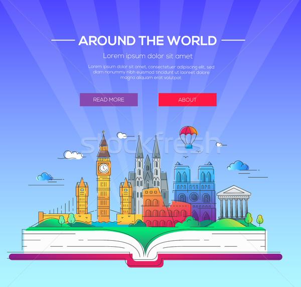 Alrededor mundo vector línea viaje ilustración Foto stock © Decorwithme