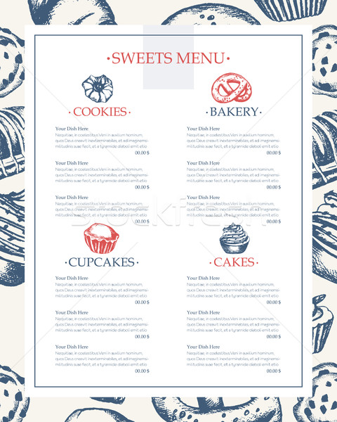 Delicious Sweets - monochromatic hand drawn template menu Stock photo © Decorwithme