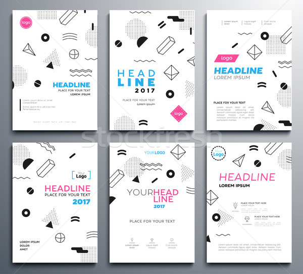 Presentation booklet covers - vector template pages set Stock photo © Decorwithme