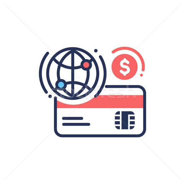 Internet banking - modern vector line design icon. Stock photo © Decorwithme