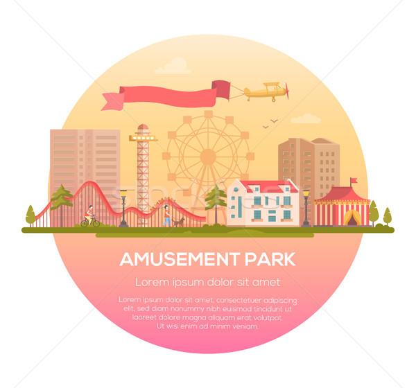 Parco di divertimenti moderno frame luogo testo urbana Foto d'archivio © Decorwithme