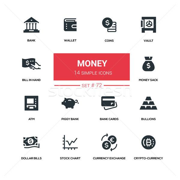 Money - line design silhouette icons set Stock photo © Decorwithme
