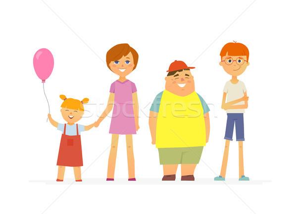 Boldog gyerekek rajzolt emberek betűk izolált illusztráció Stock fotó © Decorwithme