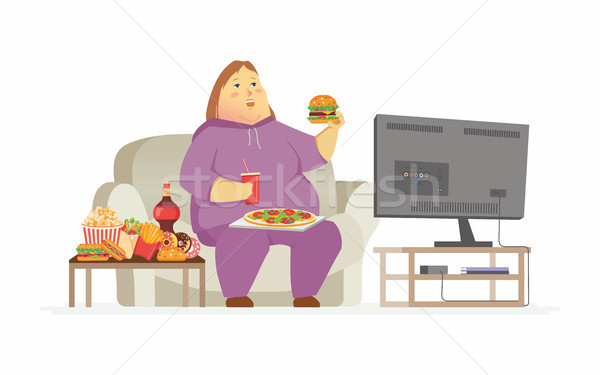 Fat woman watching TV - cartoon people character isolated illustration Stock photo © Decorwithme