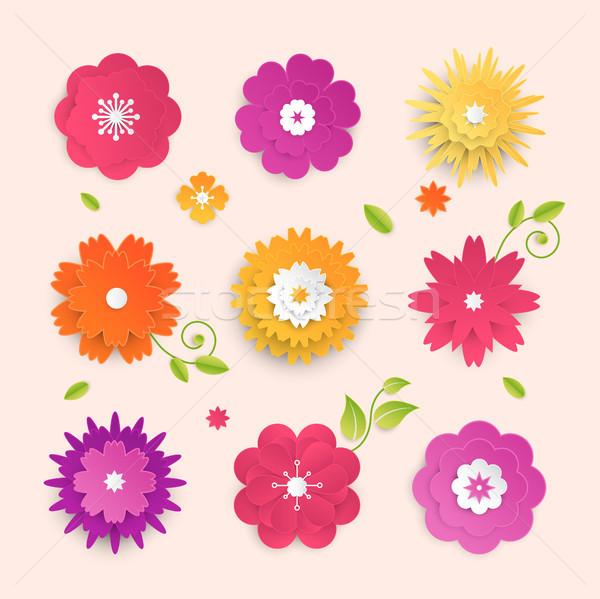 Papier gesneden bloemen ingesteld moderne vector Stockfoto © Decorwithme