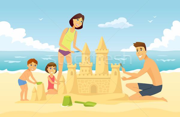 Stock photo: Happy family on vacation - cartoon people character illustration