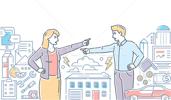 Family fight - colorful line design style illustration Stock photo © Decorwithme